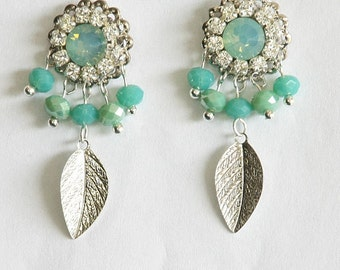 Aquamarine Earrings,Bridal Earrings,Aquamarine Stone Earrings,Aquamarine Jewelry,Something Blue,OOAK Bridesmaid Earrings,Turquoise,Silver
