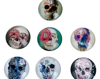 3 Skeleton Cabochons - 25mm - Day of the Dead - Glass Dome Seals - Ships IMMEDIATELY from California - C312