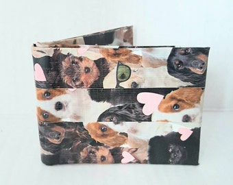 Small Brown Bifold Billfold Wallet - Duct Tape Wallet - Cute Dog Wallet - Kid Wallet - Women's Wallet - Unique Wallet