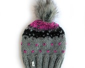 Fair Isle knit slouchy hat with pom pom/ Chunky Knit Slouchy NORDIC Toque / Handmade by Dubbele Dutch