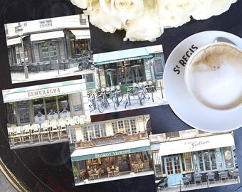 SALE! Paris Photography Postcards - Paris Cafes Postcard Series 2, Blank Card, Greeting Card, Stationery