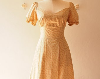 My Dream - Baby Doll Dolly Sleeve Dress Vintage Style Sundress Floral Bridesmaid Dress Summer Dress