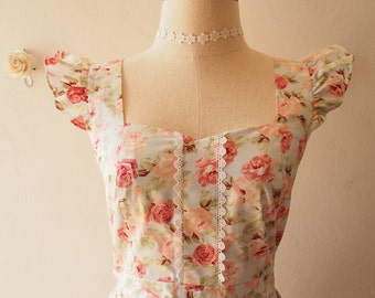 Olivia - Blue Floral Prom Dress Coral Floral Summer Dress Tea Dress Floral Party Dress Sundress Rustic Bridesmaid Dress-XS-XL, Custom