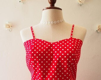 Clearance SALE Crop Top and Skirt Set Red with White Polka Dot La La Land Style Red Summer Matching Red Crop Top and skirt Set Retro Vint...
