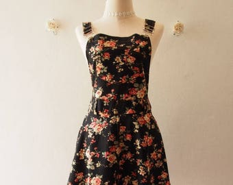 Clearance SALE Floral Skirtall Overall Skirt Black Floral Dress Floral Overall (US6-US10)