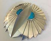 Vintage Silver Turquoise Sunrise Earrings