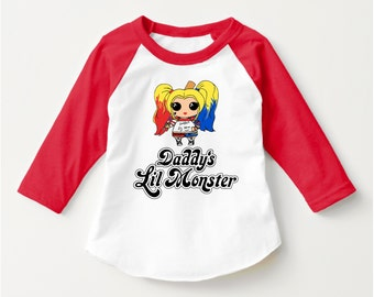 "Suicide Squad ""Daddy's Lil Monster Doll"" Tshirt Harley Quinn Cosplay Shirt Suicide Squad  UNISEX CHILD 3/4 Sleeve Raglan (SCREENPRINTED)"