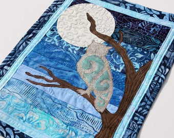 Iridescent Owl Silhouetted against the Moon Quillted Wall Hanging / Mini Art Quilt