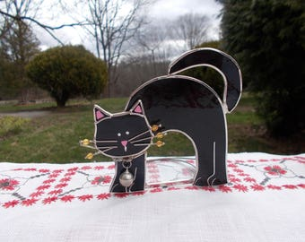 Vintage Stained Glass KITTY Black Cat with Pink Ears and Nose