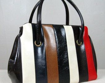 Vintage 1960s Purse 60s Multi Colored Striped Vinyl Handbag Cute