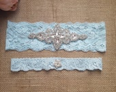 Wedding Garter Set - Blue Embellished rhinestone matching toss garter set