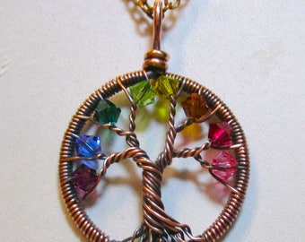 Little Birthstone Crystal Tree of Life, Crystal Rainbow Tree of Life Necklace, Rainbow Necklace, Crystal Jewelry