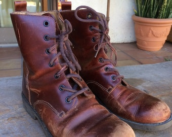 Vintage leather boots heritage boho campus lace-up booties