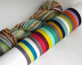 Ready To Ship: Self Striping Fingering Weight Sock Yarn, Super Sock, Wool Nylon, 20 Color Stripe, Hand Dyed, Patchwork 2.0