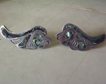 Antique Mexican Silver and Abalone Earrings