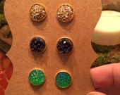 Mardi Gras set- set of 3 druzy earrings on gold stud.