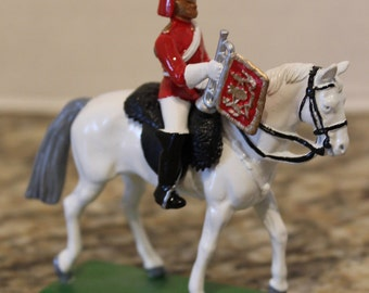 Collectible Vintage 1988 W. Britain England Lifeguard Soldier Mounted w Bugle and Sword