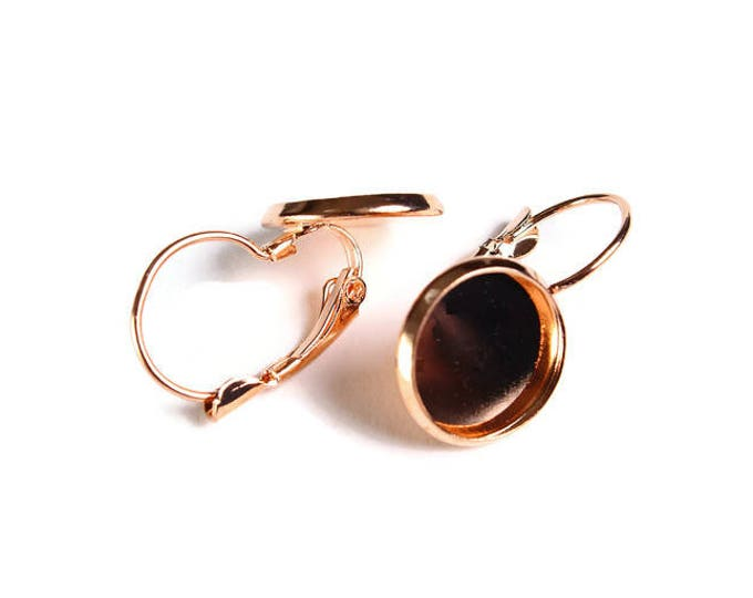 12mm Leverback Earring Settings - Rose gold Leverback earrings with flat round tray (1858) - Flat rate shipping