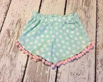 ella ruffle shorts- polka dot and pompoms
