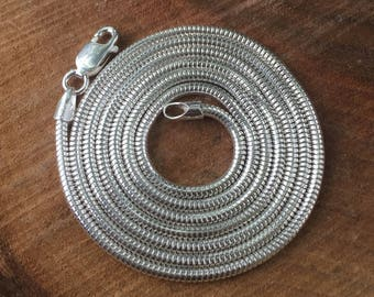 "24"" Silver Chain - Sterling Silver Chain -  Silver Snake Chain - Unseamed Snake Chain - 2mm Chain - Long Silver Chain - Sweet Water Silver"
