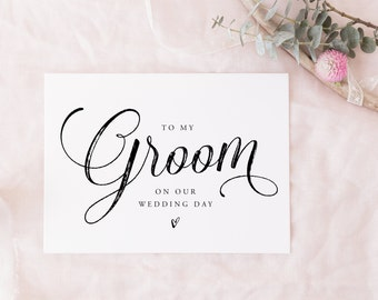 Printable To My Groom Card, Instant download | wedding party card, bridal party card digital download, on my wedding day thank you card