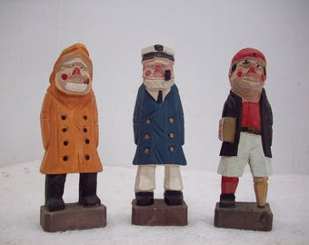 Vintage Nautical Wood Carved Sea Captain & Mates 3 PCS
