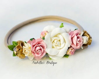 Dusty Rose Pink Ivory Cream Gold Floral Crown - Floral Halo Floral Boho Headband Newborn Photo Prop Shabby Chic