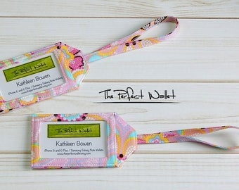 Luggage Tags, Fabric Baggage Tags, ID Tags, Fabric Baggage ID Luggage Tags, Set of TWO Far Out Floral Luggage Tags