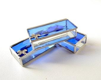 Set Of Three Blue Glass Boxes, Glass Box, Glass Display Box, Glass Jewelry Box, Jewelry Box, Gift For Girlfriend, Bridesmaid Gift