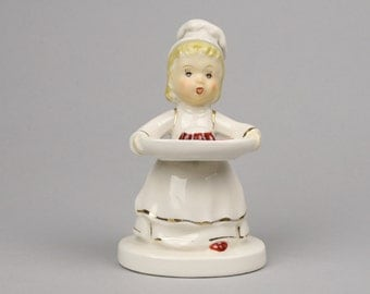 Mother's Helper, The Little Cook, Girl in Apron and Toque with Platter Figurine