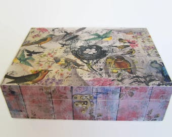 Decoupage Wooden Tea/Storage Box -  Birds and Hymn Sheet Theme - Christ is Precious