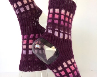 Yoga Socks, Handknit Unique Yoga Socks, Pilates, PiYo, Dance Socks, Pedicure, Boho Socks, Hipster Socks, Fashion Yoga Soxs, Designer Sox