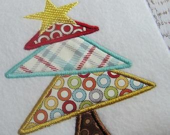 Applique Christmas tree machine embroidery design, Christmas tree design, embroidery Christmas tree, Merry Christmas design, appliqué design
