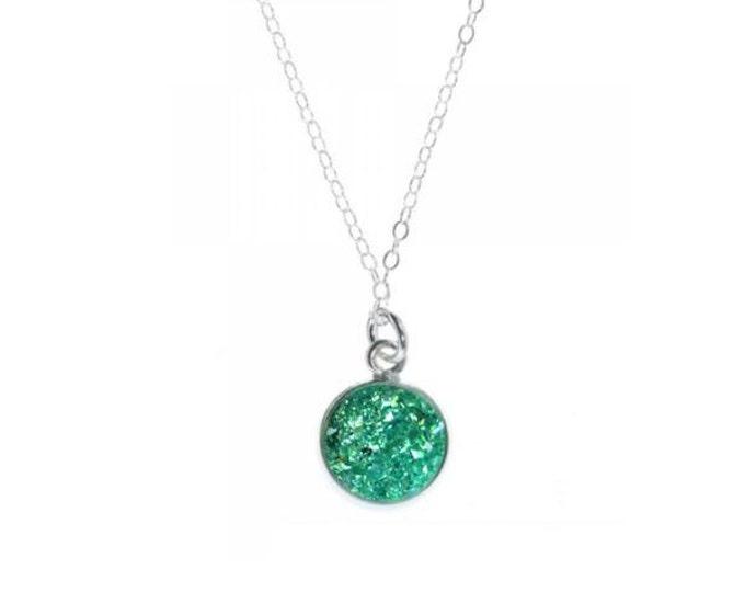 12mm Teal Crystal Druzy Necklace