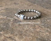 Stainless Steel Ring, Rainbow Moonstone, Beaded Ring, Stacking ring, Stretch ring, Arthritis jewelry, Healing jewelry