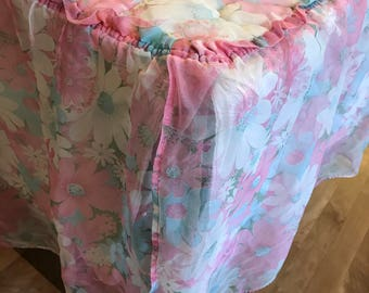 Vintage FULL Size Bedspread 1970s retro Flower Power Pastel Sweet Floral Polyester Quilted Chiffon Ruffle Light Weight Coverlet Pink Blue