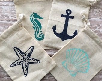 Party Favor bags, 4x6 favor bags, Nautical Favor Bags, Beach Favor bags, mermaid Party Favor Bags, favor bags wedding beach, nautical favors