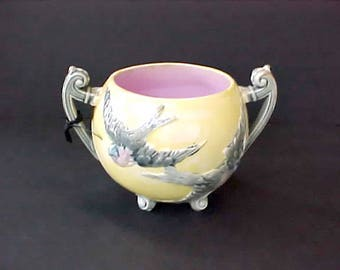 Swallows in Flight Design on This Wonderful Antique Majolica Sugar Bowl