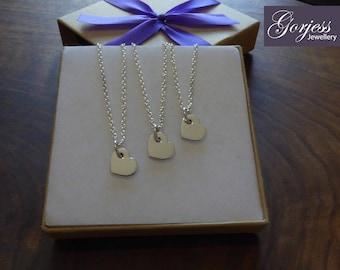 Three Silver Handmade Heart Charms 1.2mm