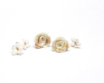 Porcelain ear studs