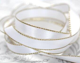 Gold Edged White Satin Ribbon 3/8 inch -- 3 yards -- 9.5mm