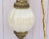 Vintage 1970s Opal White Swag Light Lamp Hippie Boho
