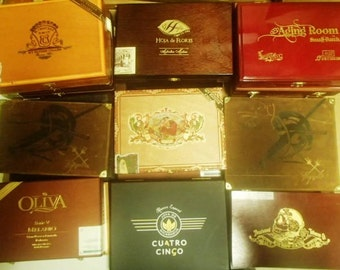 5 pc Wooden Cigar box lot - Flat style boxes - macanudo, romeo & juliet, cohiba, fuente, brickhouse, ashton
