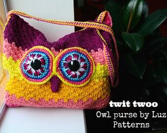 Owl pattern, crochet owl purse pattern, crochet color bag pattern, boho crochet purse pattern 254 Instant Download