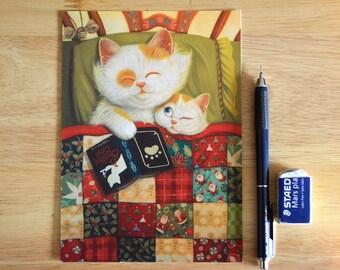 "Cat Illustration ""Cozy"" 5"" x 7"" Postcard"