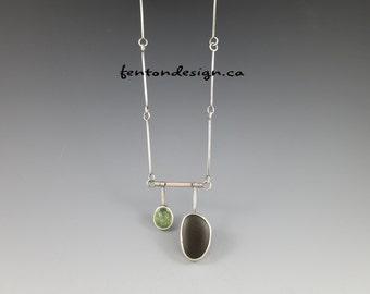 Prehnite Necklace, Beachstone Necklace, Beach Stone, Organic Necklace, Artisan, Metalsmith, Original Design, Handmade Chain