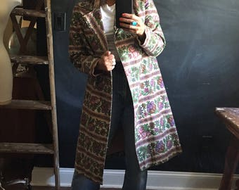 Vintage Tapestry printed double breasted trench coat