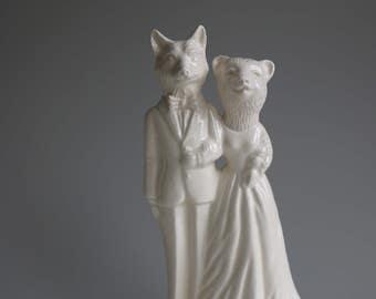Fox and Bear Wedding Cake Topper Handmade Ceramic