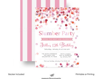 Coral Slumber Party Invitations Girls Birthday Playful Dot Invites Sleepover Party Kids Celebration Pink Party Invite Digital File  (CSBP1O)