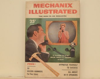 Mechanix Illustrated Magazine, March 1955 - Great Condition, Tips,  Science, Technology, Hundreds of Vintage Ads, Retro-Futurism, Pulp Art